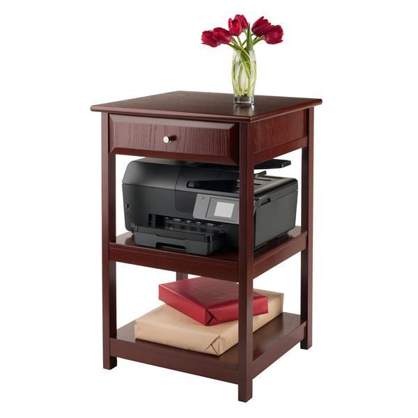 """Console Delta pour imprimante, 21"""" x 30"""", bois, noisette"""