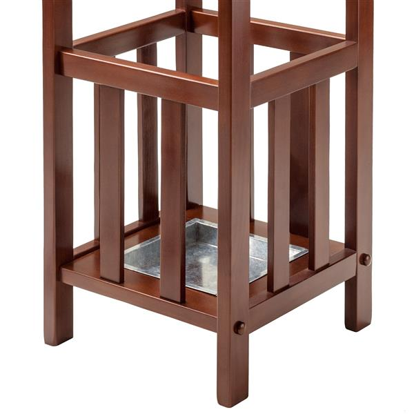 Winsome Wood Rex Umbrella Stand - Metal Tray - 26-in - Wood - Walnut