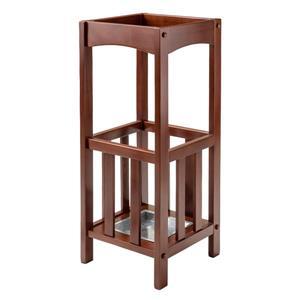 Winsome Wood Rex Umbrella Stand - Metal Tray - 26-in - Wood - Walnut