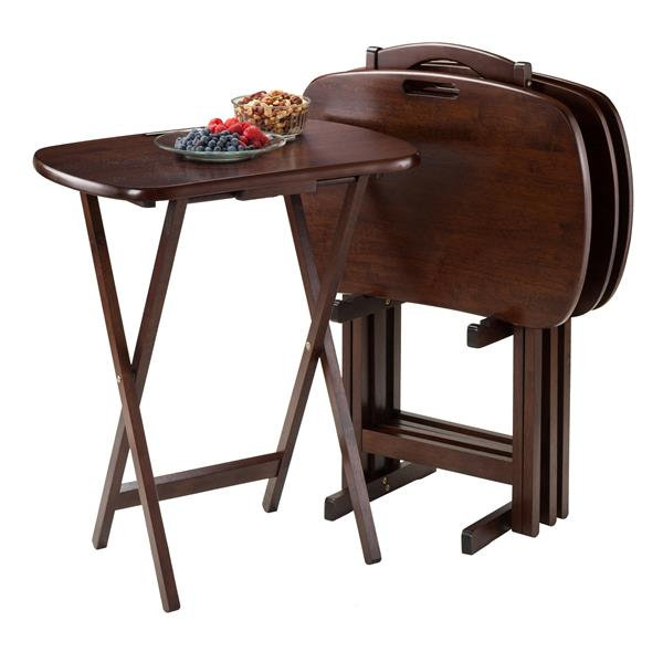 Winsome Wood Lucca Walnut Wood Snack Table Set (5-Piece Set)
