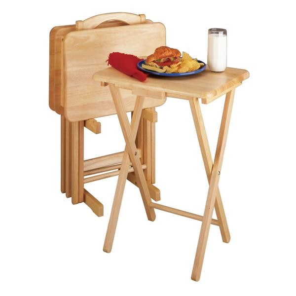 Winsome Wood Alex Natural Wood Snack Table Set (5-Piece Set)