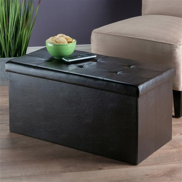 Winsome Wood Ashford 30-in x 15-in x 15-in Espresso Faux Leather Ottoman