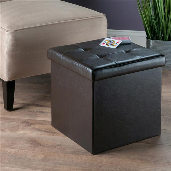 Winsome Wood Ashford 15-in x 15-in x 15-in Espresso Faux Leather Ottoman