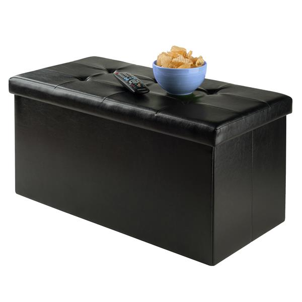 Winsome Wood Ashford 30-in x 15-in x 15-in Black Faux Leather Ottoman