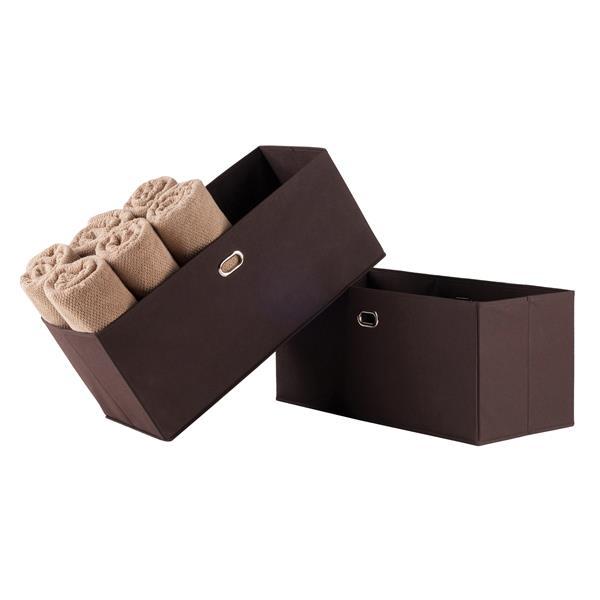 "Paniers pliables en tissu Torino, 23,8"", chocolat, ens. de 2"