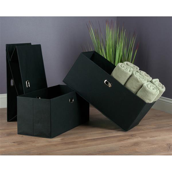 "Paniers pliables en tissu Torino, 23,8"", noir, ens. de 3"