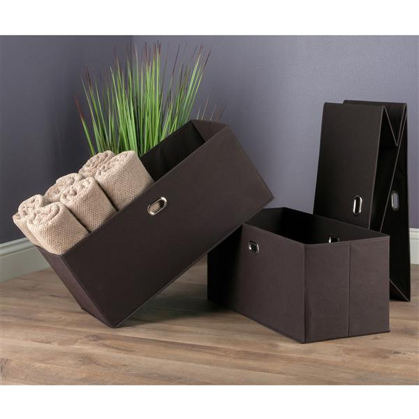 Winsome Wood 2.75-in x 23.8-in Torino Folding Chocolate Fabric Baskets (3 Pack)
