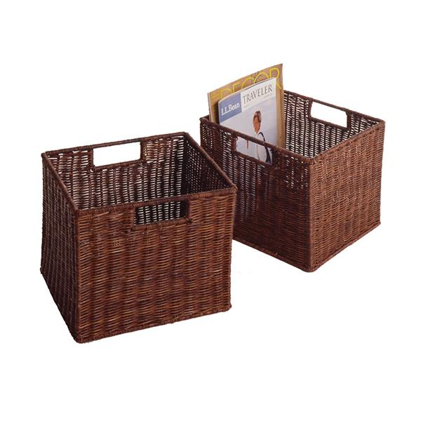 Winsome Wood 11.75-in x 12-in Rattan Walnut Leo Wired Basket (2 Pack)