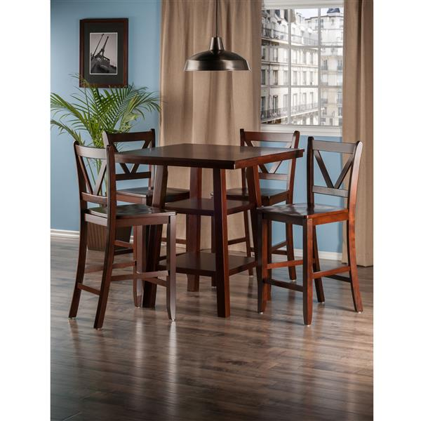 Winsome Wood Orlando Walnut 5 Piece Wood Dining Set