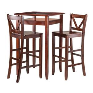 Winsome Wood Halo Walnut 3 Piece Wood Dining Set