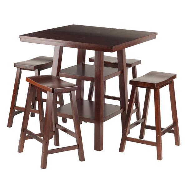 Ensemble de table Orlando, bois, noyer, 5 pièces