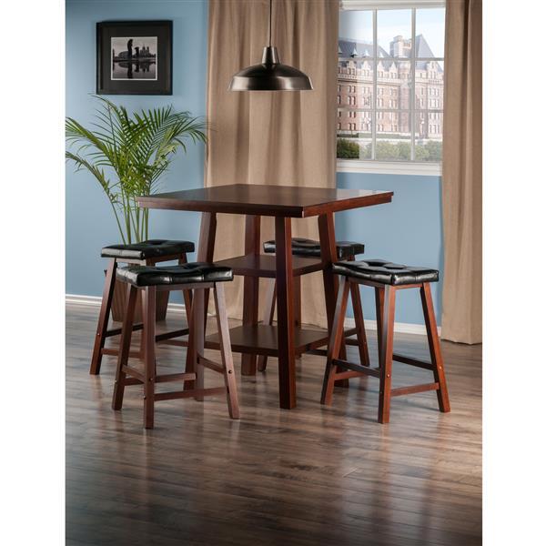 Winsome Wood Orlando Walnut 5 Piece Wood Dining Set with Shelves