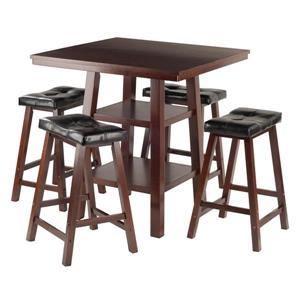 Winsome Wood Orlando Walnut 5 Piece Wood Dining Set with Shelves
