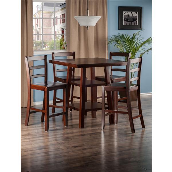 Winsome Wood Orlando Walnut 5 Piece Wood High Table Set