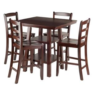 Winsome Wood Orlando Walnut 5 Piece Wood High Table Set