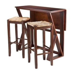 Winsome Wood Harrington Walnut 3 Piece Wood Dining Set with Drop Leaf