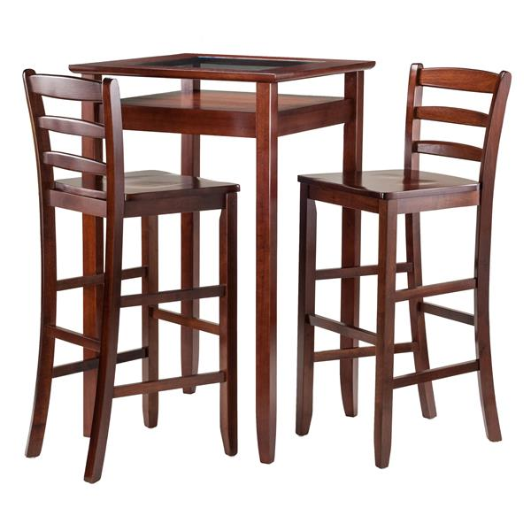 Winsome Wood Halo Walnut 3 Piece Wood Dining Set
