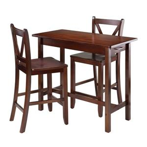 Winsome Wood Sally Walnut 3 Piece Wood Breakfeast Table Dining Set