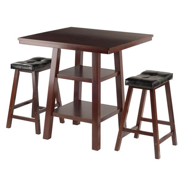 Winsome Wood Orlando Walnut 3 Piece Wood High Table Dining Set