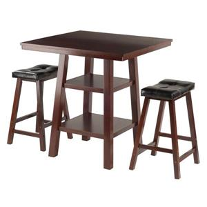 Ensemble Orlando, table haute, 2 tabourets, bois, noyer