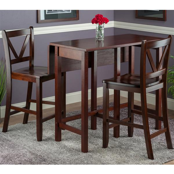 Winsome Wood Lynnwood 3 Piece Wood Dining Set with Drop Leaf