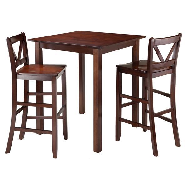 Table haute Parkland, 2 tabourets, bois, 3 pièces