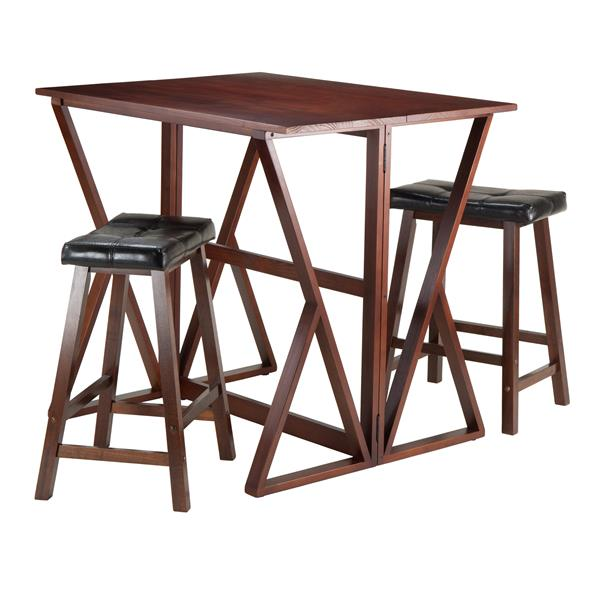 Winsome Wood Brown and Black 3 Piece Faux Leather Dining Set
