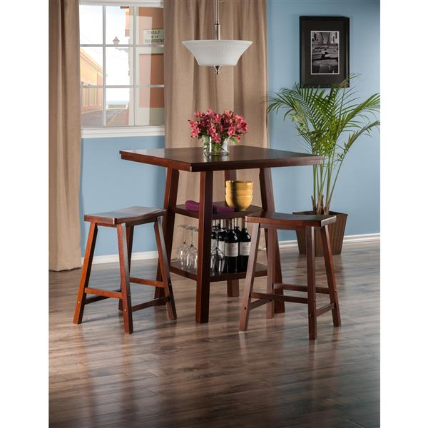Winsome Wood Orlando 3 Piece High Table Dining Set with Shelves