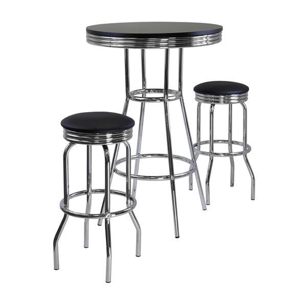 Ensemble Summit, table bistro, métal, noir, 3 pièces