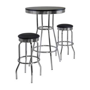 Winsome Wood Summit Black 3 Metal Piece Pub Table Dining Set