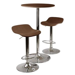 Winsome Wood Kallie Cappuccino 3 Piece Metal Dining Set