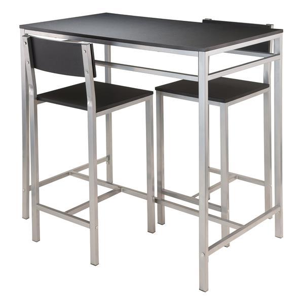 Ens. de salle à manger Hanley, métal, noir, 3 pièces