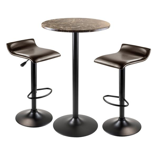 Winsome Wood Cora  3-Piece Brown Faux Marble Dining Set