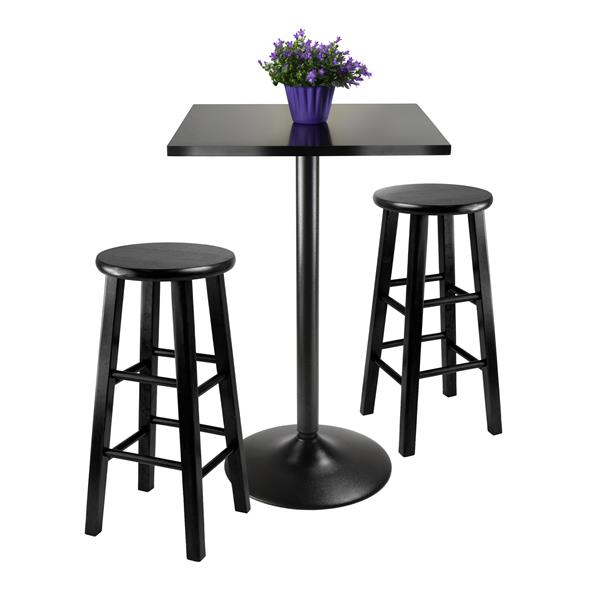 Winsome Wood Obsidian Black 3 Piece Composite Dining Set