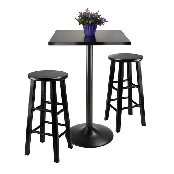 Ens. de salle à manger Obsidian, composite, noir, 3 pièces