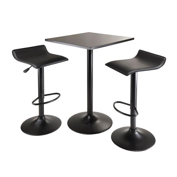 Winsome Wood Obsidian Black Faux Leather 3 Piece Dining Set