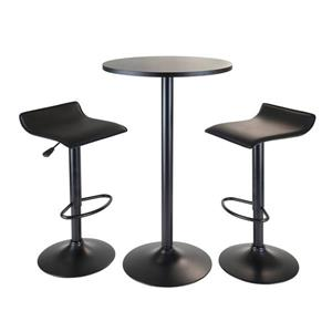Winsome Wood Obsidian Black 3 Piece Faux Leather Dining Set