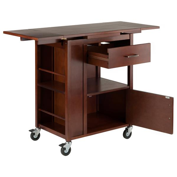 Winsome Wood Gregory Kitchen Cart - 27.56-in x 33.46-in - Wood - Walnut