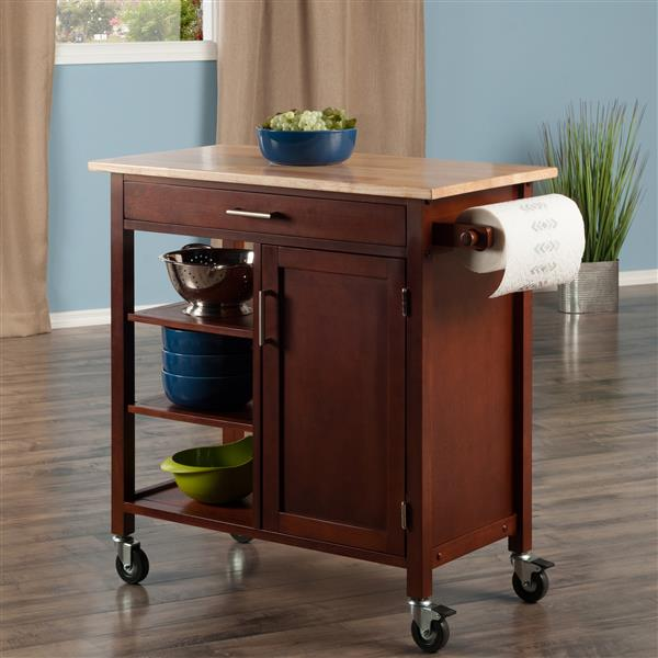 Winsome Wood Marissa 36-in x 34-in Walnut Wood Kitchen Cart