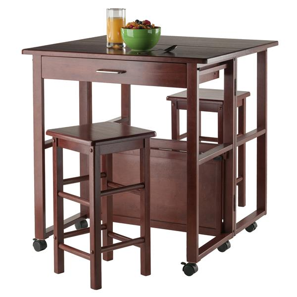 Winsome Wood Fremont Brown Walnut 3 Piece Wood Space Saver Set