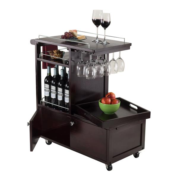 Winsome Wood Gregory 27.56-in x 33.46-in Walnut Modern Wood Kitchen Cart