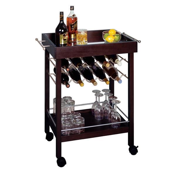 """Chariot de bar Johnnie, 30"""" x 33"""", bois, espresso"""
