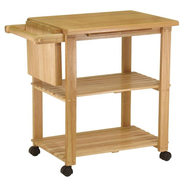 Winsome Wood Mario 33-in x 32-in Natural Wood Utility Cart