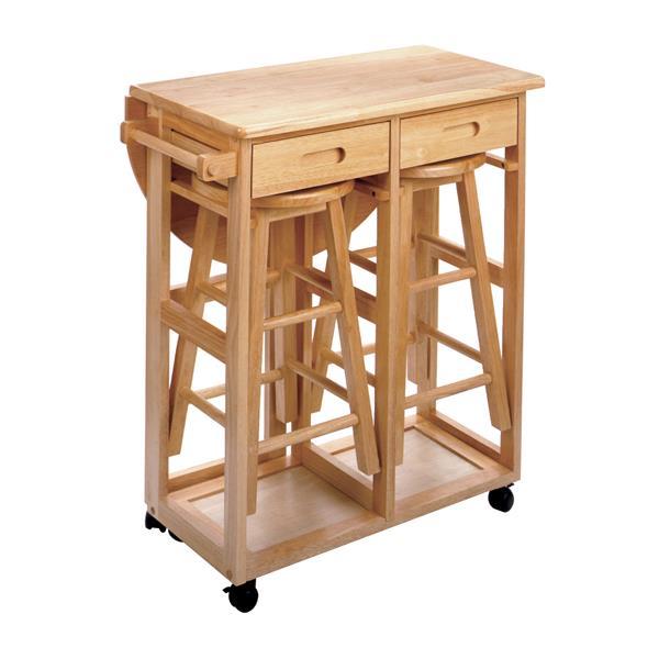 Économiseur d'espace Burnett, bois, naturel, 3 pièces