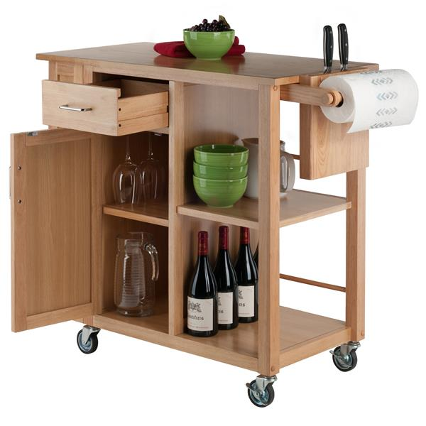 Winsome Wood Finland 35-in x 31.5-in Gold Natural Wood Kitchen Cart