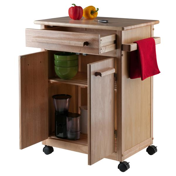 Winsome Wood Hackett 27-in x 34-in Gold Modern Wood Kitchen Cart