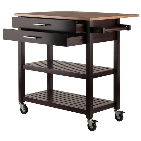 Winsome Wood Langdon 36-in x 34-in Cappuccino Wood Kitchen Cart