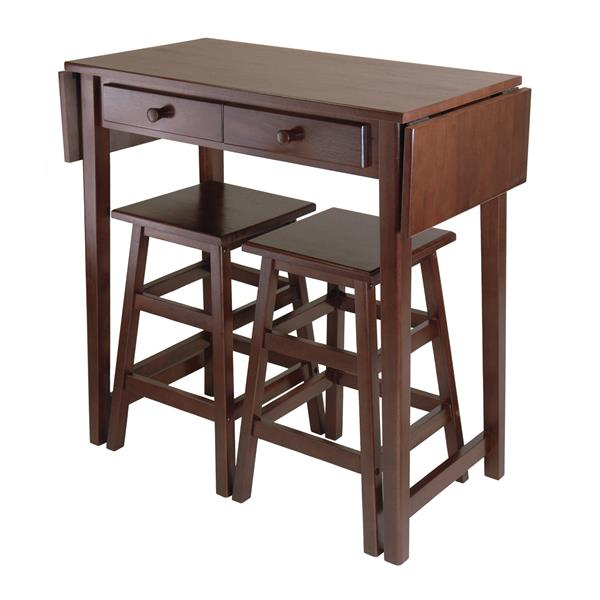 Winsome Wood 3 Piece Cappuccino Wood Double Drop Leaf Table