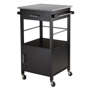 Winsome Wood Davenport 23-in x 35-in Black Modern Kitchen Cart With Granite Countertop