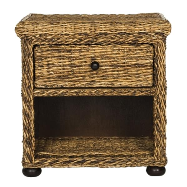 Safavieh 22.10-in x 22.10-in Natural Abaca Brown Musa Braided Wicker One Drawer Nightstand